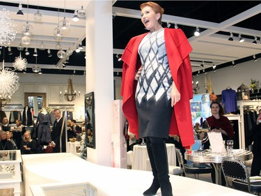 Elaine Charron, a body shape and style consultant at Shepherd's, was a volunteer model at the Fashion FUNraiser event for Bruyère, held at the women's clothing boutique on Monday, November 23, 2015.