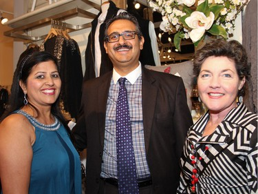From left, Meena Manchanda with her husband, assistant deputy minister Amipal Manchanda, chair of the BruyËre board of directors, and Bruyère Foundation board chair Fiona Gilfillan at the Fashion FUNraiser held at Shepherd's on Monday, November 23, 2015, in support of Bruyère and its rehabilitation, long-term and palliative care facilities.