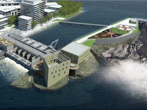 An artist's illustration of the Chaudiere Falls, including public viewing platforms.