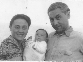 Holocaust survivors Miriam Cukierman and Moshe Altman with their baby, Cypora. The couple never forgot the kindness they were shown at their refugee camp in southern Italy.