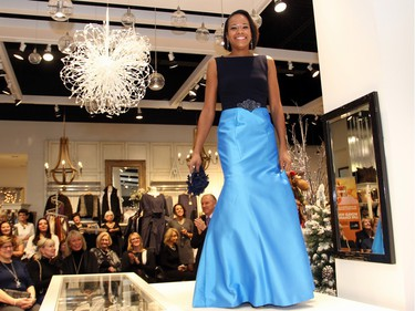 Nicole Burris, wife of Redblacks quarterback Henry Burris, was a volunteer model at the Shepherd's Fashion FUNraiser held at the women's boutique in the Train Yards shopping district on Monday, November 23, 215.
