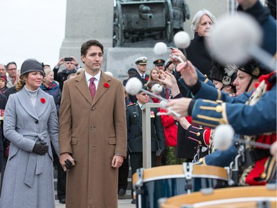 Prime Minister Justin Trudeau and his wife  Sophie Grégoire-Trudeau look on during the march past as the National Remembrance Day Ceremony takes place at the National War Memorial in Ottawa.