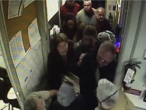 Security camera video shows taxi protesters entering Coventry Connections on Friday Nov.13, 2015.