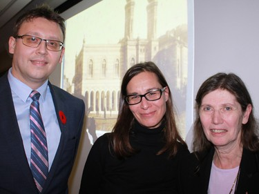 Zsuzsanna Toronyi, director of the Hungarian Jewish Museum and Archives gave a lecture at the University of Ottawa Nov. 5. Hungary currently holds the chairmanship of the International Holocaust Remembrance Alliance. From left: Lajos Oláh, deputy head of mission at the Embassy of Hungary; Toronyi; and  Judy Young Drache, president of the Canada-Hungary Educational Foundation.