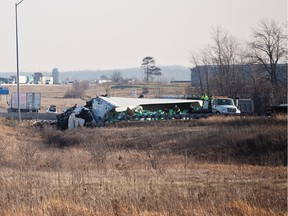A crash closed the westbound lanes of Hwy. 401 at Napanee Wednesday morning.