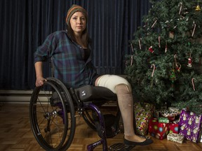 Sarah Stott, a year after a horrific train accident in Montreal cost her her right leg, half of her left, and most of her fingers.