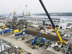A Navy ship undergoes a mid-life refit at the Irving Shipbuilding facility in Halifax in 2014.