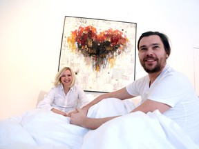"Edith Betkowski and Dominik Sokolowski will have an 11-day ""bed in for peace"" at the Alpha Art Gallery in Ottawa. (Jean Levac/ Ottawa Citizen)"