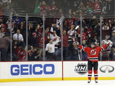 New Jersey Devils right wing Kyle Palmieri celebrates after scoring a goal against the Ottawa Senators during the first period.