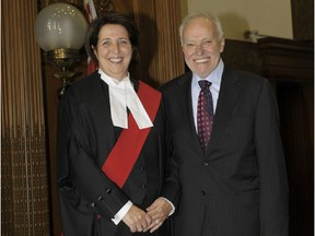 Ottawa lawyer Bill Carroll with his life partner, Chief Justice of the Ontario Court, Lise Maisonneuve, at her swearing in ceremony. Carroll passed away Sunday at the age of 68.