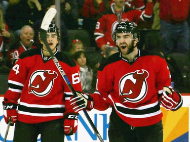 Kyle Palmieri #21 of the New Jersey Devils celebrates his second goal of the game at 11:23 of the first period on the power play.