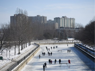 Skaters enjoy the opening day of the Rideau Canal Skateway on Saturday, Jan. 23, 2016.