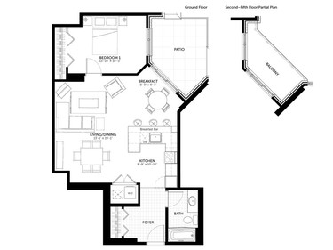 Floor plan of The York, an 835-square-foot one-bedroom.