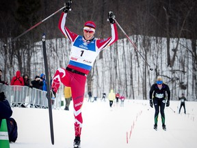 Scott Hill finishes first in the 51km Classique race at the Gatineau Loppet Saturday, Feb. 27, 2016