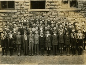 A class photo of Ray Lauzon's, from when he lived in LeBreton Flats in the 1930s.