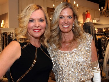 From left, Team BFF co-captains Krista Kealey and Melissa Shabinsky at a fashion event held at Shepherd's store in the Ottawa Train Yards shopping district, on Tuesday, March 1, 2016.