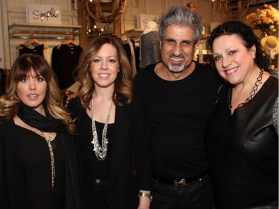 From left, Water Salon and Spa stylists Krissy Julien, Tanya Holmes and Caroline Fatica with their boss, Eli Saikaley, who also co-owns Silver Scissors, and Ottawa makeup artist Leslie-Anne Barrett at a benefit held at Shepherd's fashion and accessories store on Tuesday, March 1, 2016.