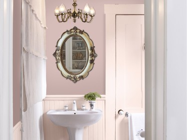 Pairing matte and high-gloss pastel finishes is in vogue, no matter what the room. Featured in this dusty rose powder room is Sico's Venice Skyline (6082-31) in matte on the walls and Zuni Landscape (6073-21) in gloss on the wainscoting, door and trim.