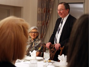 Israeli Ambassador Rafael Barak welcomes dinner guests to the Friends of the NAC Orchestra's Music to Dine For benefit that he and his wife, Miriam, hosted at their official residence in Rockcliffe Park on Wednesday, March 23, 2016, in support of youth music education programs.