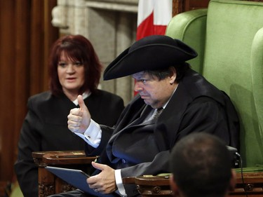Liberal MP Mauril Bélanger gives a thumbs-up as he sits in the speaker's chair to preside over the House of Commons last week.