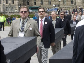 An anti-asbestos protest on Parliament Hill in 2010.