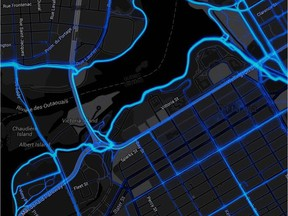 A sample 'heat map' generated by Slava Metro from GPS units of cyclists, tracking each trip they make so you you see where travel more and where they go less often.