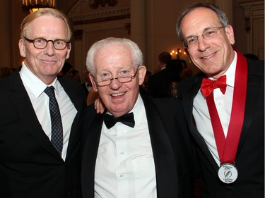 From left, veteran political journalist Robert Fife with Senator David Smith and author, professor and Citizen columnist Andrew Cohen at the Politics and Pen dinner held at the Fairmont Chateau Laurier on Wednesday, April 20, 2016, in support of The Writers' Trust of Canada.