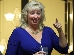 Marilyn Gladu reacts as election results show her pulling into the lead in the Sarnia-Lambton riding Monday. Her election means Sarnia-Lambton's fourth straight term with a Conservative representative, but ends the area's streak as a bellwether riding.