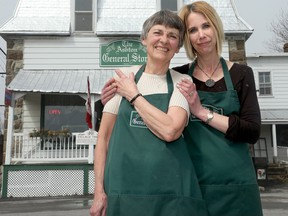 Sylvie Pignal and her mother Dorothea Bendall, who makes pickles, jams and cookies and works at the postal counter.