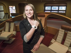Erin Gregory, curator of the Star Trek: The Starfleet Acadamy Experience at the Canadian Aviation and Space Museum, is photographed in the mock-up of the bridge from the USS Enterprise during a media preview Wednesday May 11, 2016. (Darren Brown).