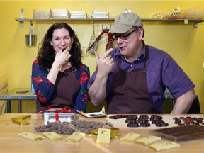 Erica and Drew Gilmour, owners of Hummingbird Chocolate Maker, pose at their Almonte chocolate factory.
