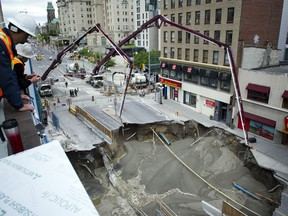 Day two of the sinkhole on Rideau Street.