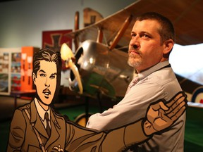 Historian John Maker at the Canadian War Museum's new exhibit, Deadly Skies - Air War, 1914-1918, which opens to the public Friday, June 10, 2016.