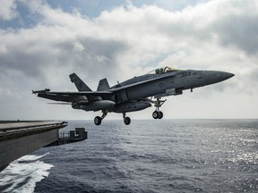 In this handout provided by the U.S. Navy, an F/A-18E Super Hornet assigned to the Wildcats of Strike Fighter Squadron (VFA) 131 launches from the flight deck of the aircraft carrier USS Dwight D. Eisenhower (CVN 69 )on June 28, 2016 in the Mediterranean Sea. Dwight D. Eisenhower is deployed in support of Operation Inherent Resolve, maritime security operations and theater security operation efforts in the U.S. 6th Fleet area of operations.
