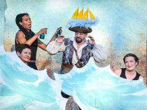 A Company of Fools presents Pericles, Prince of Tyre, in parks across Ottawa, July 4 to August 20, 2016. From left to right: Mekdes Teshome, Mary Ellis, AL Connors, Jennifer Cecil.