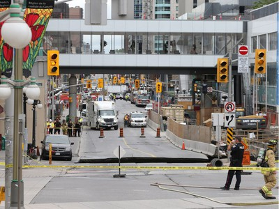 Day 1: Sink hole on Rideau St and gas leak in Ottawa, June 08, 2016.