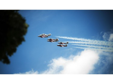 The Snowbirds flew over the Canada Day noon show in Ottawa, Friday, July 1, 2016.
