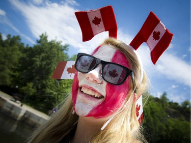 13-year-old Alisha Hanley was well decked out for Canada Day in Ottawa, Friday, July 1, 2016.