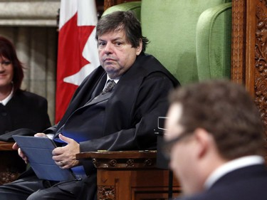 Liberal MP Mauril Belanger sits in the Speaker's Chair to preside over the House of Commons Wednesday, serving as honorary Speaker, in a tribute organized by his fellow MPs following his diagnosis with ALS last November, in Ottawa Wednesday March 9, 2016.
