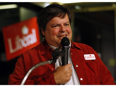 Then, Liberal Party candidate for Ottawa Vanier Mauril Belanger speaks to supporters at the Pineview Golf Club after winning his riding in the 41st Canadian General Election, in Ottawa on May 2, 2011.