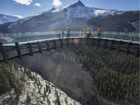 The Glacier Skywalk in Jasper, Alta. extends 35 metres from a cliff face and offers view of a glacial valley, 280 metres below its glass floor.
