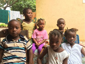 Children at a makeshift orphanage in the capital of Guinea.