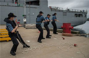 RCN ensign on HMCS Halifax. (Canadian Forces photo).