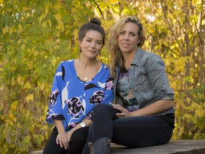 Ana Miura (L) and Amanda Rheaume of Babes 4 Breasts. Wednesday October 12, 2016.