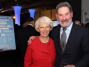 Honouree Barbara Farber at this year's Jewish National Fund of Ottawa Negev Dinner held at the EY Centre on Thursday, October 27, 2016, with Soloway Wright lawyer Lawrence Soloway, chairman of the board at the University of Ottawa Heart Institute.