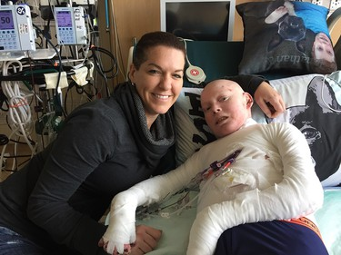 Jonathan Pitre and his mom, Tina Boileau. Taken on Friday October 7, 2016.