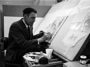 File photo of John Crosby working on illustrations for The Birds of Canada, in the 1960s.