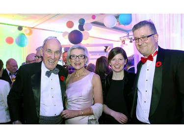 From left, Frank McArdle and his wife, Supreme Court Chief Justice Beverley McLachlin, with Hilary Phenix and gala committee member Randy Marusyk, MBM Intellectual Property Law, at The Ottawa Hospital Gala held Saturday, November 5, 2016.