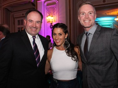 From left, Ottawa Senators general manager Pierre Dorion, CTV Ottawa Morning host and Snowsuit Fund past chair Lianne Laing, and Brad Weir from the Ottawa Senators Foundation at the Canadian Tire Snowsuit Fund Gala held at the Fairmont Chateau Laurier on Saturday, November 12, 2016.