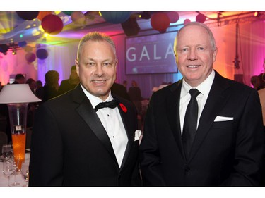 From left, Tim Kluke, president and CEO of The Ottawa Hospital Foundation, with general manager Ian Downie from presenting sponsor Nordion at The Ottawa Hospital Gala held at The Westin Ottawa on Saturday, November 5, 2016.